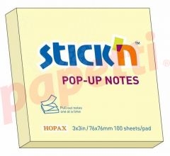 Notes autoadeziv 76mm x 76mm, 100 file/buc, galben pal, Stick'n