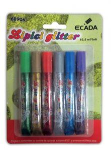 Adeziv lichid glitter 6 tuburi, 10,5ml/tub, Ecada