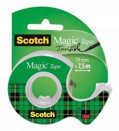 Banda adeziva invizibila cu dispenser, 19mm x 7.5m, Scotch Magic 3M
