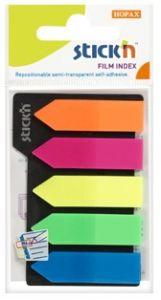 Index autoadeziv plastic, 5x25file/set, 45mm x 12mm, transparent color, sageata, Stick'n