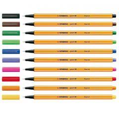 Liner 10 culori/set, varf 0,4mm, Point 88 Stabilo
