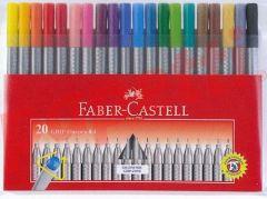 Liner 20 culori/set, varf 0,4mm, Grip Faber Castell-FC151620