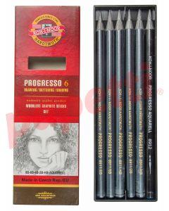 Creion grafit fara lemn, HB, 2B, 4B, 6B, 8B, Aquarell, Progresso, 6buc/cutie, Koh-I-Noor