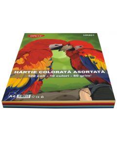 Hartie colorata asortata 10 culori, 80g/mp, 100coli/top, Daco