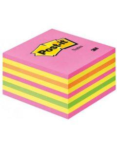 Notes autoadeziv cub 76mm x 76mm, 450 file/set, culori neon (roz, galben, portocaliu, verde), Post-i