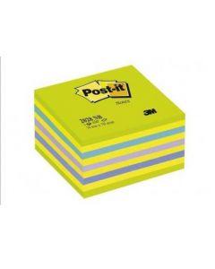 Notes autoadeziv cub 76mm x 76mm, 450 file/set, culori neon (galben, verde, albastru), Post-it 3M