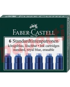 Patroane scurte, cerneala albastra, 6buc/set, 185506 Faber Castell