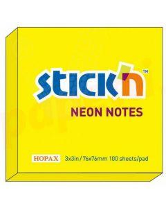 Notes autoadeziv 76mm x 76mm, 100 file/buc, galben neon, Stick'n