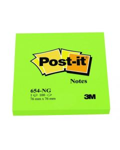 Notes autoadeziv 76mm x 76mm, 100 file/buc, verde neon, Post-it 3M
