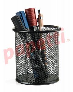 Suport metal pentru instrumente de scris, negru, Mesh