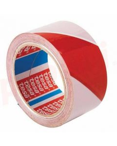 Banda adeziva marcare, PVC alb/rosu, 50mm x 33m, Tesa