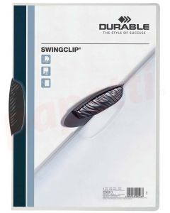 Dosar din plastic cu clema pivotanta neagra, 30 coli, Swingclip Durable