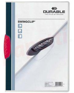 Dosar din plastic cu clema pivotanta rosie, 30 coli, Swingclip Durable