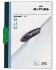 Dosar din plastic cu clema pivotanta verde, 30 coli, Swingclip Durable