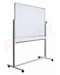 Whiteboard magnetic, dubla fata, rotativa, 90cm x 120cm, pe stand mobil, Optima