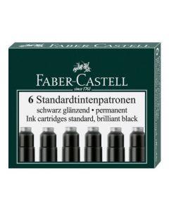 Patroane scurte, cerneala neagra, 6buc/set, 185507 Faber Castell