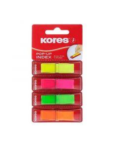 Index autoadeziv plastic cu dispenser, 4x40file/set, 45mm x 12mm, transparent color, Kores