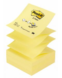 Notes autoadeziv 76mm x 76mm, in Z, 100 file/buc, galben, Post-it 3M