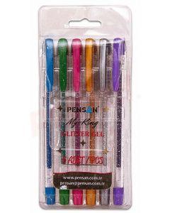 Pix cu gel glitter cu capac, 6culori/set, varf 1,0mm, Pensan My King Glitter
