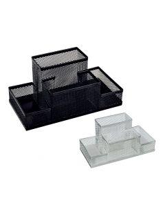 Suport metal pentru birou, 4 compartimente, argintiu, Mesh Ecada