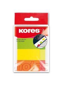 Index autoadeziv hartie, 4x50 file/set, 50mm x 20mm, culori neon, Kores