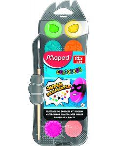Acuarele pe baza de apa, 12 culori, pastila 30mm, pensula, Maped