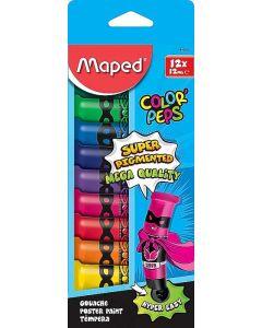 Tempera pe baza de apa, 12 culori/set, tub 12ml, cutie carton, Maped