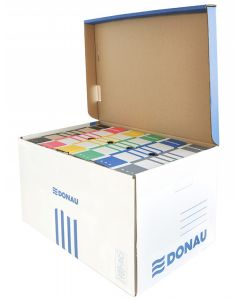 Container arhivare cutii de arhivare, cu capac, 558x315x370mm, albastru/alb, Donau