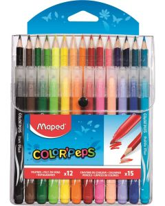 Set creioane colorate 15culori/set + carioci 12culori/set, Color Peps Maped