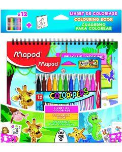 Set activitati pentru copii (12 carioci Jungle+carte de colorat+abtibilduri+sabloane) Jungle/Ocean M