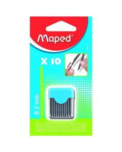 Mine grafit 2mm pentru compas, 10buc/set, Maped