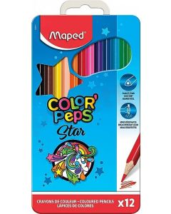 Creioane colorate in cutie metal 12culori/set, Color Peps Star Maped