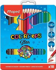 Creioane colorate in cutie metal 18culori/set, Color Peps Star Maped