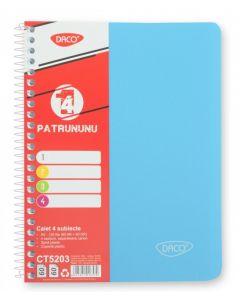 Caiet cu spira A5, 120file, matematica si dictando, coperta plastic bleu, 4 subiecte, Eminent Daco