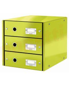 Suport carton laminat cu 3 sertare pentru documente, verde, Click&Store Leitz