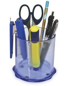 Suport pentru instrumente de scris, 3 compartimente, cilindric, transparent, Kejea