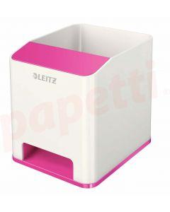 Suport instrumente de scris, cu sistem de amplificare a sunetului, alb/roz metalizat, Wow Leitz
