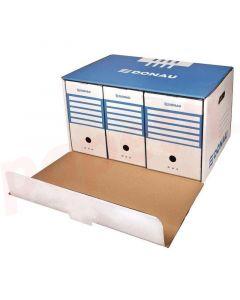 Container arhivare cutii de arhivare, cu capac, cu deschidere frontala, 555x315x360mm, albastru/alb,