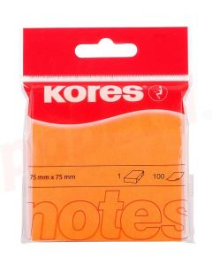 Notes autoadeziv 76mm x 76mm, 100 file/buc, portocaliu neon, Kores