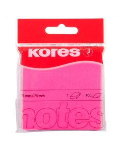 Notes autoadeziv 76mm x 76mm, 100 file/buc, roz neon, Kores