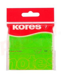 Notes autoadeziv 76mm x 76mm, 100 file/buc, verde neon, Kores