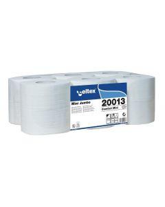 Hartie igienica mini jumbo pentru dispenser, alba, 2 straturi, 130ml, 20013 Celtex