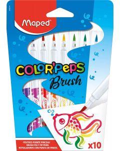 Carioca 10 culori/set, varf tip pensula, Color Peps Brush Maped
