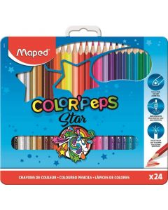 Creioane colorate in cutie metal 24culori/set, Color Peps Star Maped