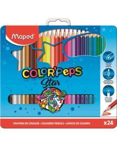 Creioane colorate in cutie metal 24culori/set, Color Peps Star Maped