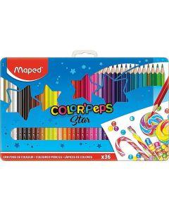 Creioane colorate in cutie metal 36culori/set, Color Peps Star Maped