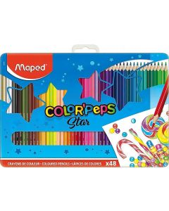 Creioane colorate in cutie metal 48culori/set, Color Peps Star Maped