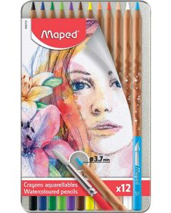 Creioane colorate solubile in apa, in cutie metal, 12culori/set, Color Peps Aqua Artist Maped
