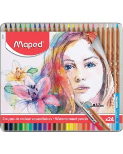Creioane colorate solubile in apa, in cutie metal, 24culori/set, Color Peps Aqua Artist Maped