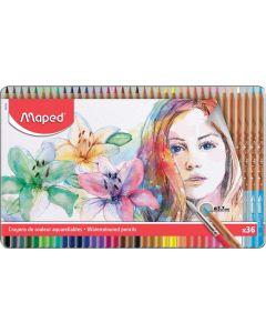 Creioane colorate solubile in apa, in cutie metal, 36culori/set, Color Peps Aqua Artist Maped